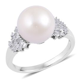 South Sea White Pearl (Rnd 11-12mm), Diamond Ring in Rhodium Plated Sterling Silver