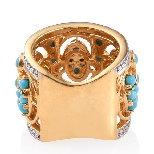 Arizona Sleeping Beauty Turquoise (Rnd) Ring in 14K Gold Overlay Sterling Silver 2.250 Ct.