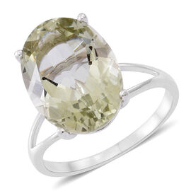 Green Amethyst (Ovl) Solitaire Ring in Rhodium Plated Sterling Silver 10.000 Ct.