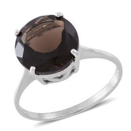 Brazilian Smoky Quartz (Rnd) Solitaire Ring in Rhodium Plated Sterling Silver 5.500 Ct.
