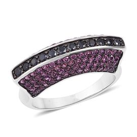 Boi Ploi Black Spinel (Rnd), Rhodolite Garnet Ring in Black Rhodium Plated Sterling Silver 2.950 Ct.