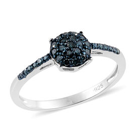 0.25 Carat Blue Diamond Ring in Platinum Plated Silver