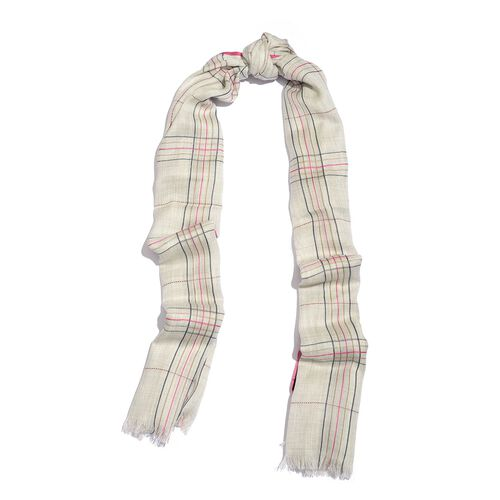 92% Merino Wool and 8% Silk Ivory, Pink and Multi Colour Checks Pattern Scarf with Fringes (Size 180X70 Cm)