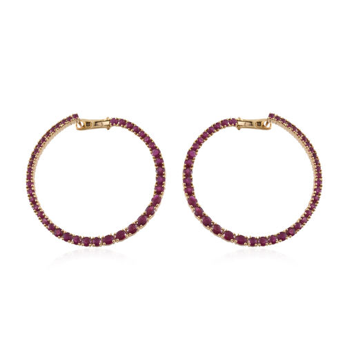 Burmese Ruby (Rnd and Oval) Hoop Earrings (with Clasp) in Yellow Gold Plated Sterling Silver 8.517 Ct. Silver wt 16.00 Gms.