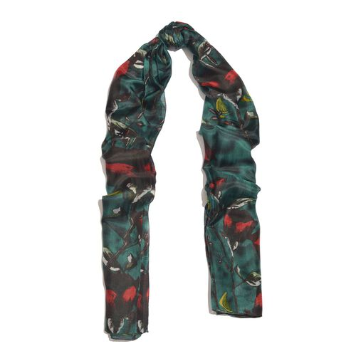 100% Mulberry Silk Dark Green, Red and Multi Colour Handscreen Rose Printed Scarf (Size 200X180 Cm)