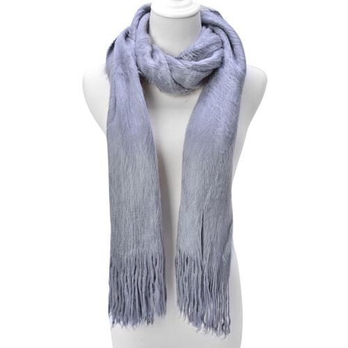 Fluffy Faux Fur Grey Colour Scarf (Size 155x70 Cm)