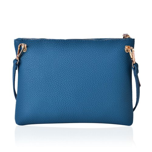 Sea Green and Metallic Bronze Colour Clutch Bag with Adjustable and Removable Shoulder Strap (Size 26x20x4 Cm)