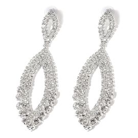 AAA White Austrian Crystal Earrings (with Push Back) in Silver Tone