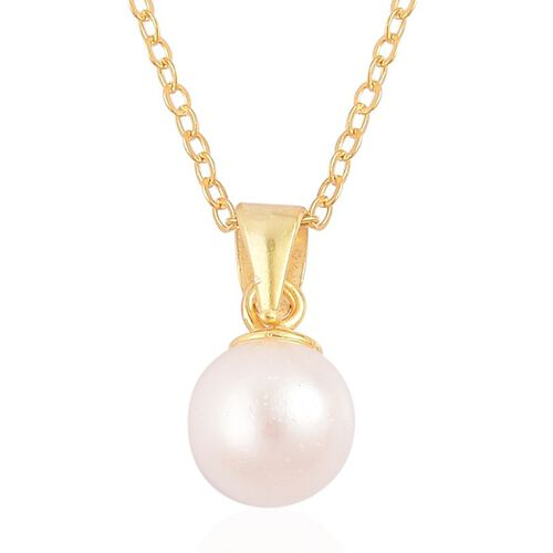 Japanese Akoya Pearl (Rnd 7-8mm) Solitaire Pendant With Chain in 14K Gold Overlay Sterling Silver