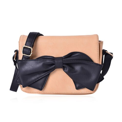 Dusty Pink Colour Fancy Bow Crossbody Bag With Adjustable Shoulder Strap (Size 20x15x7 Cm)
