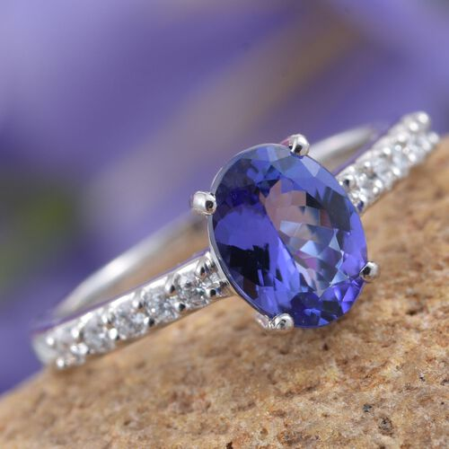 RHAPSODY 950 Platinum 2 Carat AAAA Tanzanite Shoulder Set Ring With Diamond VS E-F