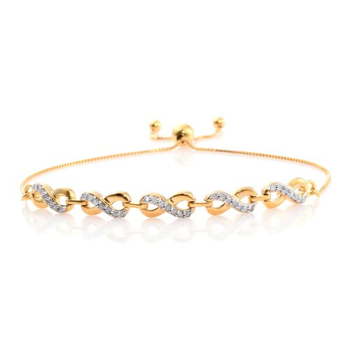 Diamond (Rnd) Adjustable Infinity Linked Bracelet (Size 6.5 to 8) in 14K Gold Overlay Sterling Silver 0.250 Ct.