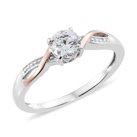 J Francis - Platinum and Rose Gold Overlay Sterling Silver (Rnd) Solitaire Ring Made with SWAROVSKI ZIRCONIA