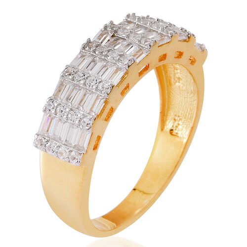 ELANZA AAA Simulated White Diamond (Rnd and Bgt) Ring in 14K Gold Overlay Sterling Silver