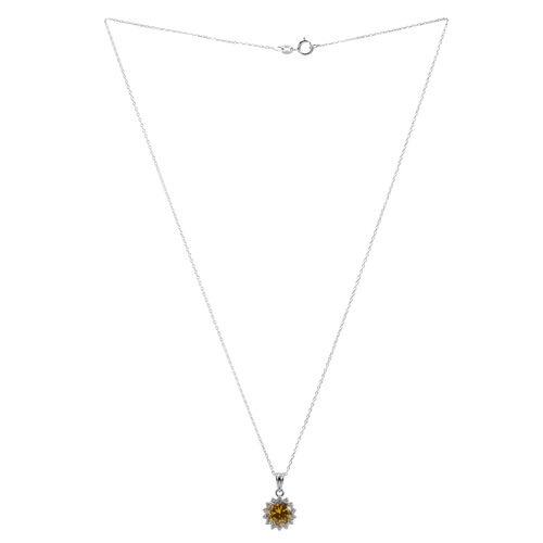Close Out Deal AAA Simulated Citrine (Rnd), Simulated Diamond Pendant With Chain in Sterling Silver
