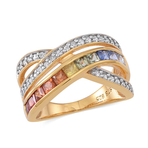Rainbow Sapphire (Sqr), White Zircon Criss Cross Ring in 14K Gold Overlay Sterling Silver 2.000 Ct.
