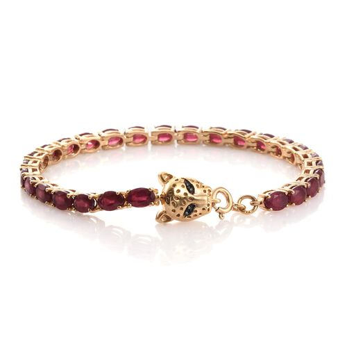 TJC Special Deal- Designer Inspired AAA African Ruby (Ovl) Leopard Head Bracelet (Size 7.5) in 14K Gold Overlay Sterling Silver 16.270 Ct.