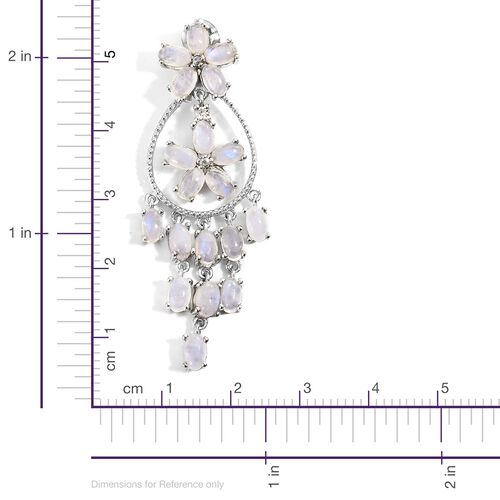 Sri Lankan Rainbow Moonstone (Ovl), Natural Cambodian Zircon Floral Inspired Earrings (with Push Back) in Platinum Overlay Sterling Silver 11.500 Ct. Silver wt 8.31 Gms.