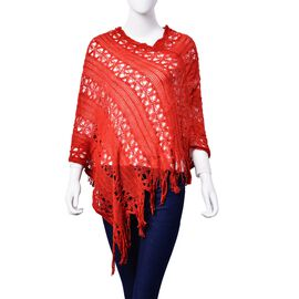 Red Colour Poncho with Tassels (Size 50 Cm)