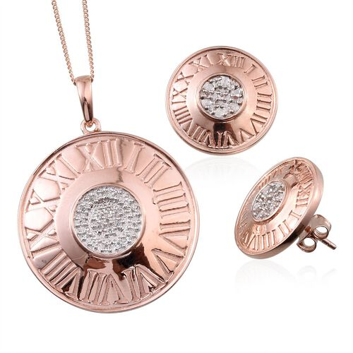 White Topaz (Rnd) Roman Number Inspired Pendant With Chain and Stud Earrings (with Push Back) in Rose Gold Overlay Sterling Silver
