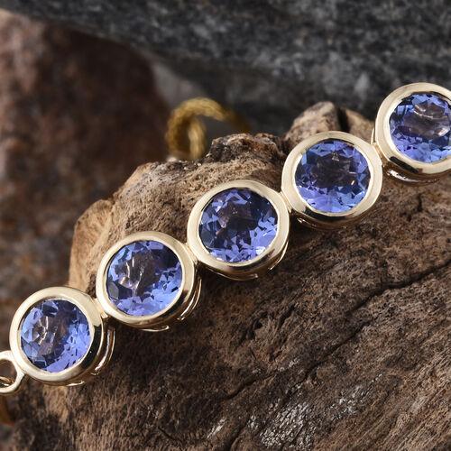 9K Yellow Gold 2.50 Ct AA Tanzanite 5 Stone Bolo Bracelet (Size 6.5 ot 8.5)