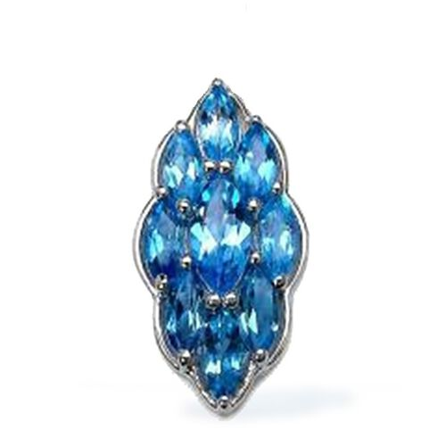 Swiss Blue Topaz (Mrq) Pendant in Rhodium Plated Sterling Silver 7.000 Ct.