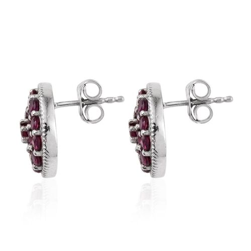 Rare Mozambique Grape Colour Garnet (Rnd) Stud Earring (with Push Back) in Platinum Overlay Sterling Silver 2.000 Ct.