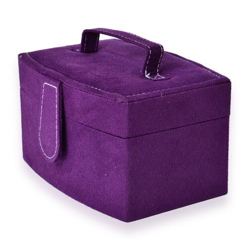 Purple Colour Velvet 2 Layer Jewelley Box with Mirror Inside (Size 15.3x11x8.8 Cm)