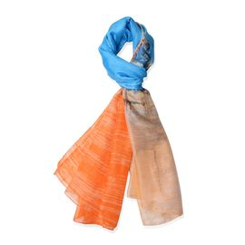 New Season-Orange, Blue and Light Coffee Colour Coastal View and Yachts Pattern Scarf (Size 185x135 Cm)