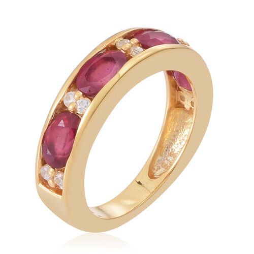 African Ruby (Ovl), Natural Cambodian White Zircon Half Eternity Band Ring in 14K Gold Overlay Sterling Silver 3.000 Ct.