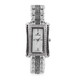GENOA Japanese Movement White MOP Dial Water Resistant Watch with Black and White Austrian Crystal in Silver Tone with Chain Strap, Number of Austrian Crystals 274
