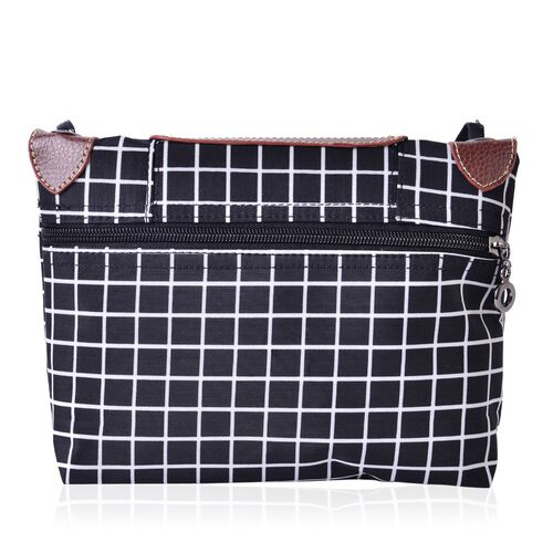 Black and White Colour Checks Pattern Crossbody Bag with External Zipper Pocket and Shoulder Strap (Size 25x20 Cm)