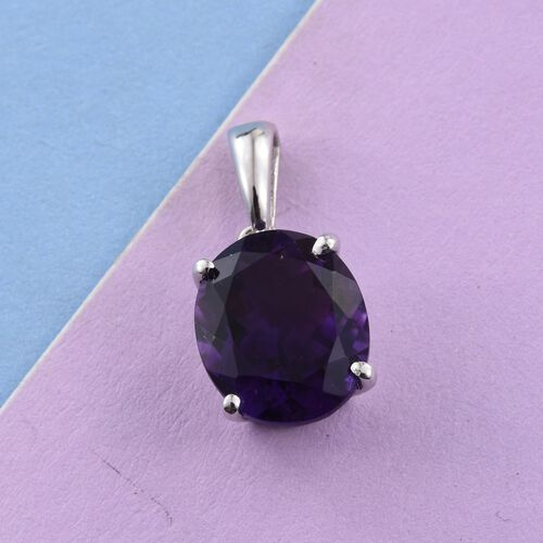 Moroccan Amethyst (Ovl) Solitaire Pendant in Platinum Overlay Sterling Silver 4.750 Ct.