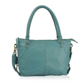 Genuine Leather RFID Teal Colour Handbag with External Zipper Pocket and Adjustable Shoulder Strap (Size 36X32X8 Cm)