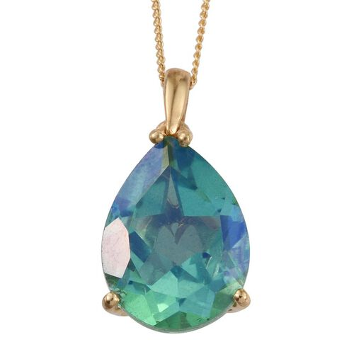 Peacock Quartz (Pear) Solitaire Pendant with Chain in 14K Gold Overlay Sterling Silver 9.000 Ct.