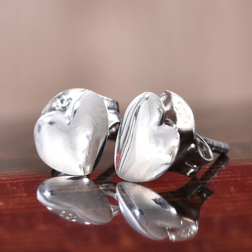 Silver Heart Stud Earrings (with Push Back) in Platinum Overlay