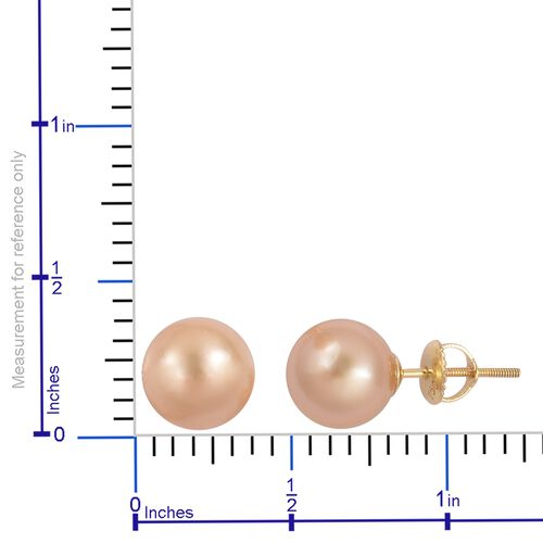 ILIANA 18K Yellow Gold Very Rare AAAA  South Sea Golden Pearl (Rnd 9-10mm) Ball Stud Earrings (with Screw Back)