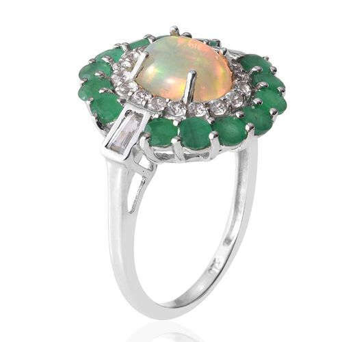 Ethiopian Welo Opal (Ovl 1.15 Ct), Kagem Zambian Emerald and Natural Cambodian Zircon Ring in Platinum Overlay Sterling Silver 3.250 Ct.