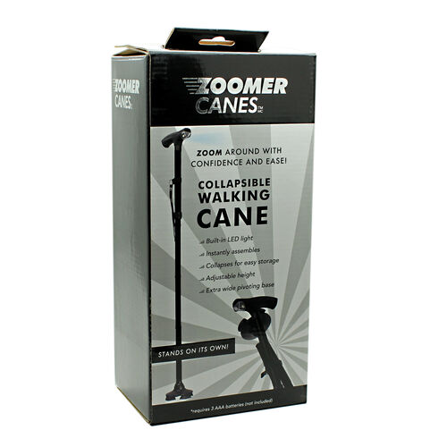 Zoomer Collapsible Walking Cane- Black