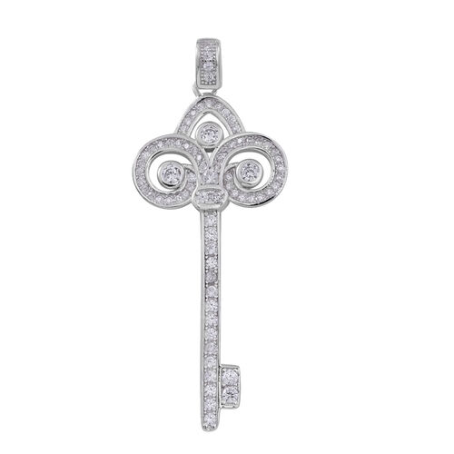 ELANZA AAA Simulated Diamond (Rnd) Key Pendant in Rhodium Plated Sterling Silver