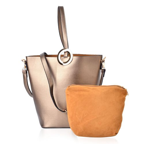 Set of 2 - Metallic Golden Colour Large Size Handbag with Adjustable and Removable Shoulder Strap (Size 33x28x21x13 Cm) and Mustard Colour Small Handbag (Size 22x18x15x10 Cm)