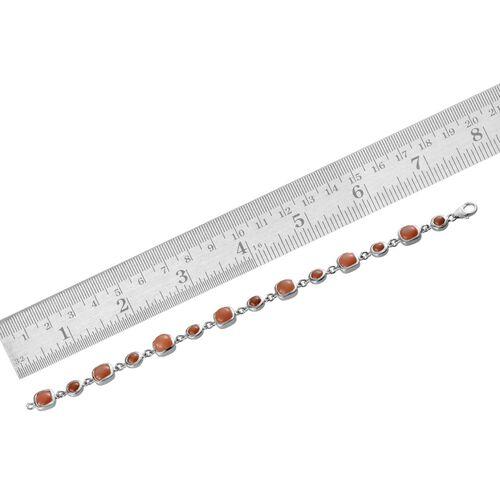 Mitiyagoda Peach Moonstone (Cush) Bracelet (Size 7.5) in Platinum Overlay Sterling Silver 15.000 Ct.