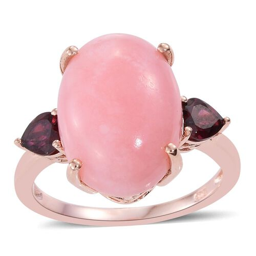 Natural Peruvian Pink Opal (Ovl 9.75 Ct), Rhodolite Garnet Ring in Rose Gold Overlay Sterling Silver 11.000 Ct.