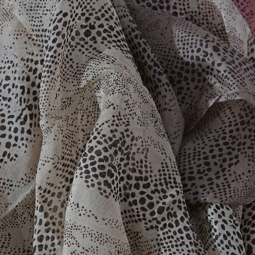 100% Tabby Silk Black, Beige and Grey Colour Handscreen Printed Scarf (Size 180x100 Cm)