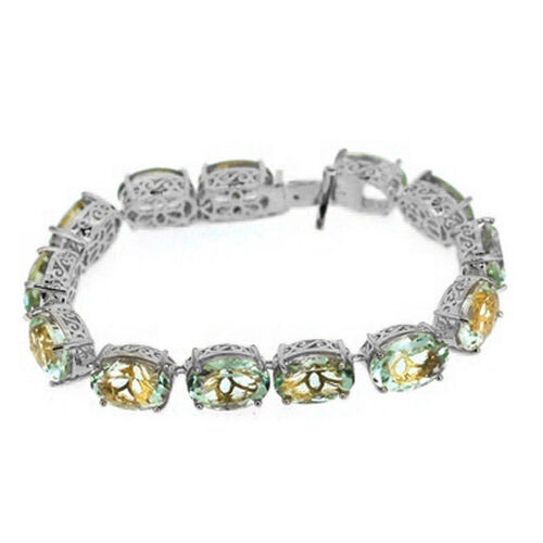 Green Amethyst (Ovl) Bracelet in Rhodium Plated Sterling Silver (Size 8) 75.000 Ct.