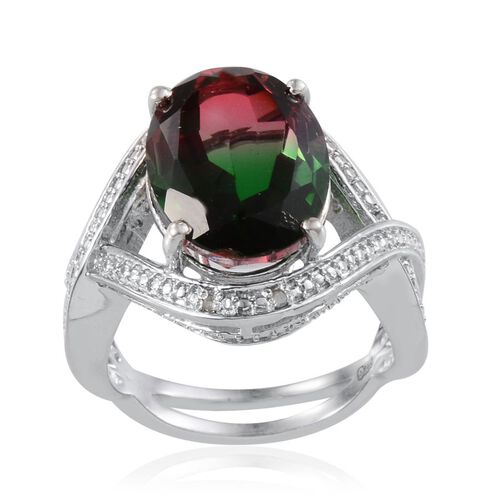 Tourmaline Colour Quartz (Ovl 8.50 Ct), Diamond Ring in Platinum Overlay Sterling Silver 8.520 Ct.