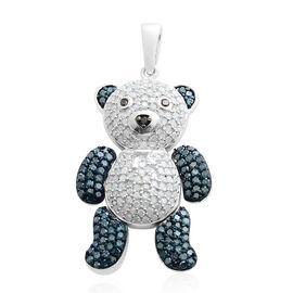 Diamond (Rnd), Blue Diamond and Black Diamond Teddy Pendant in Rhodium Plated Sterling Silver 1.001 Ct. Number of Diamonds 235