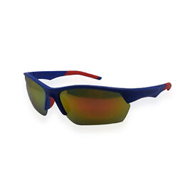 Adventure style Blue/Red Sunglasses with Golden Mirror lens With a Travel Pack