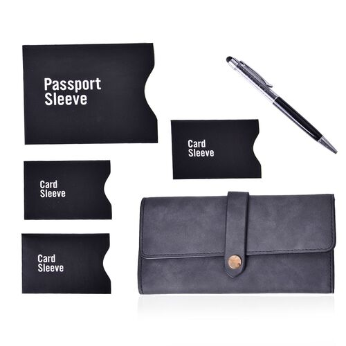 Black Colour Ladies Purse (Size 19.5x10 Cm), Simulated Black Diamond Filled Ball Pen in Silver Tone and Set of 4 RFID Blocker Black Colour Card Holders