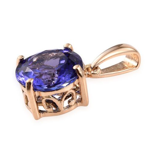ILIANA 18K Yellow Gold AAA Tanzanite (Rnd) Solitaire Pendant 2.150 Ct.